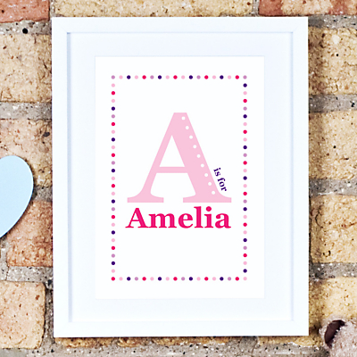 Megan Claire Personalised Child Initial Framed Print, 35.5 x 27.5cm