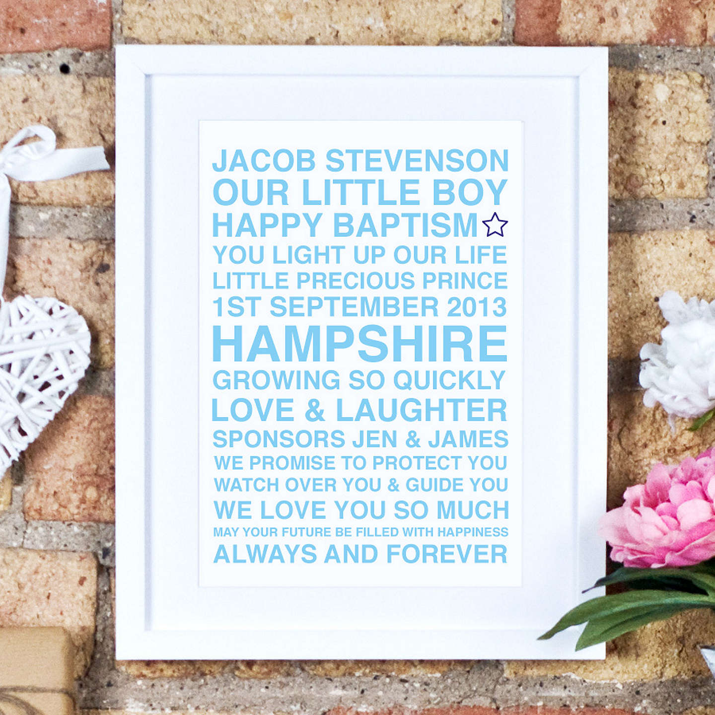 BuyMegan Claire Personalised Christening Framed Print, 35.5 x 27.5cm, Blue Online at johnlewis.com