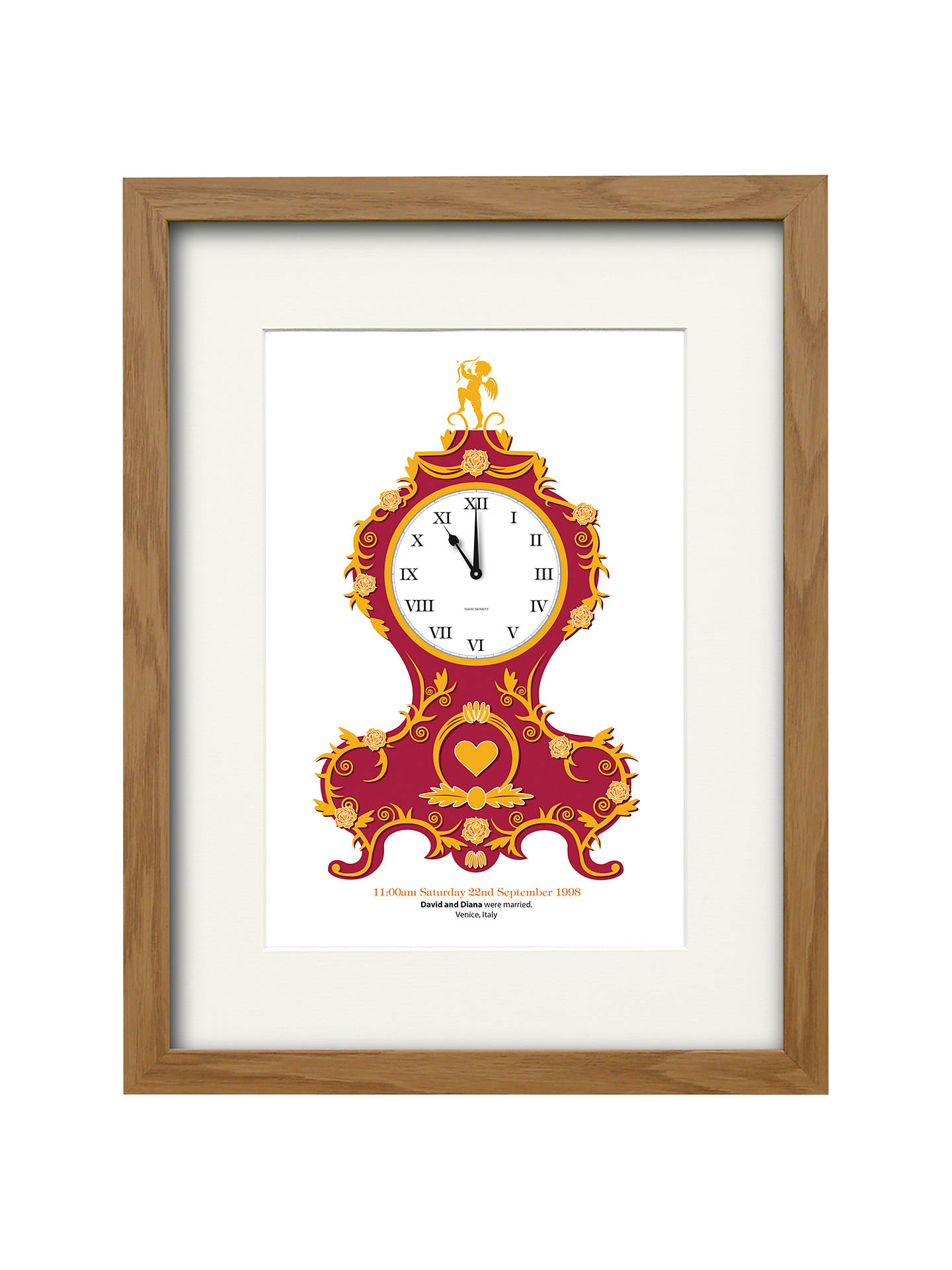 Watermark Creative Personalised Baroque Clock Framed Print, Natural ...