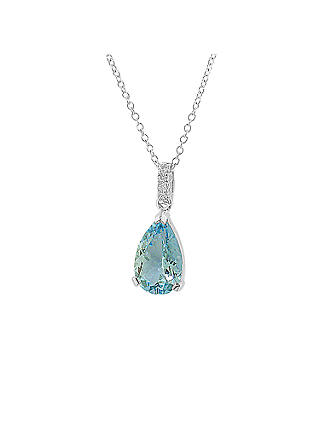 Buy EWA 18ct White Gold Pear-Shaped Aquamarine and Diamond Pendant Necklace Online at johnlewis.com