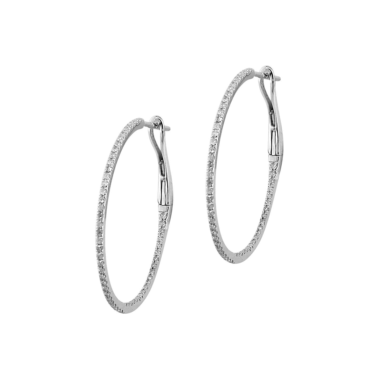 Ewa 18ct White Gold Diamond Row Hoop Earrings 0 29ct Online At