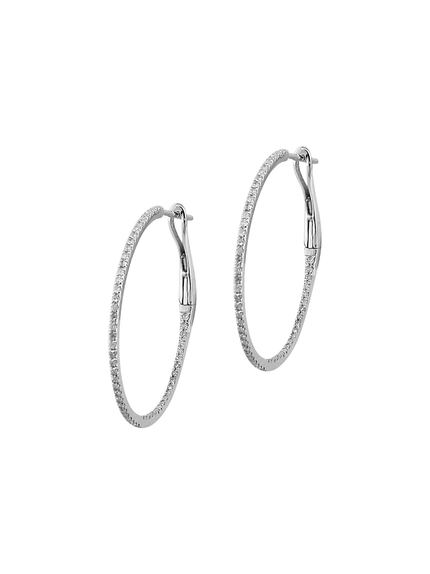 E W Adams 18ct White Gold Diamond Row Hoop Earrings 0 29ct