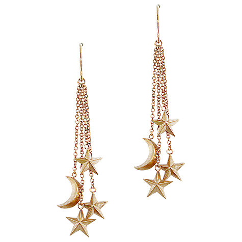 Buy London Road 9ct Rose Gold Moon and Stars Drop Earrings, Rose Gold Online at johnlewis.com