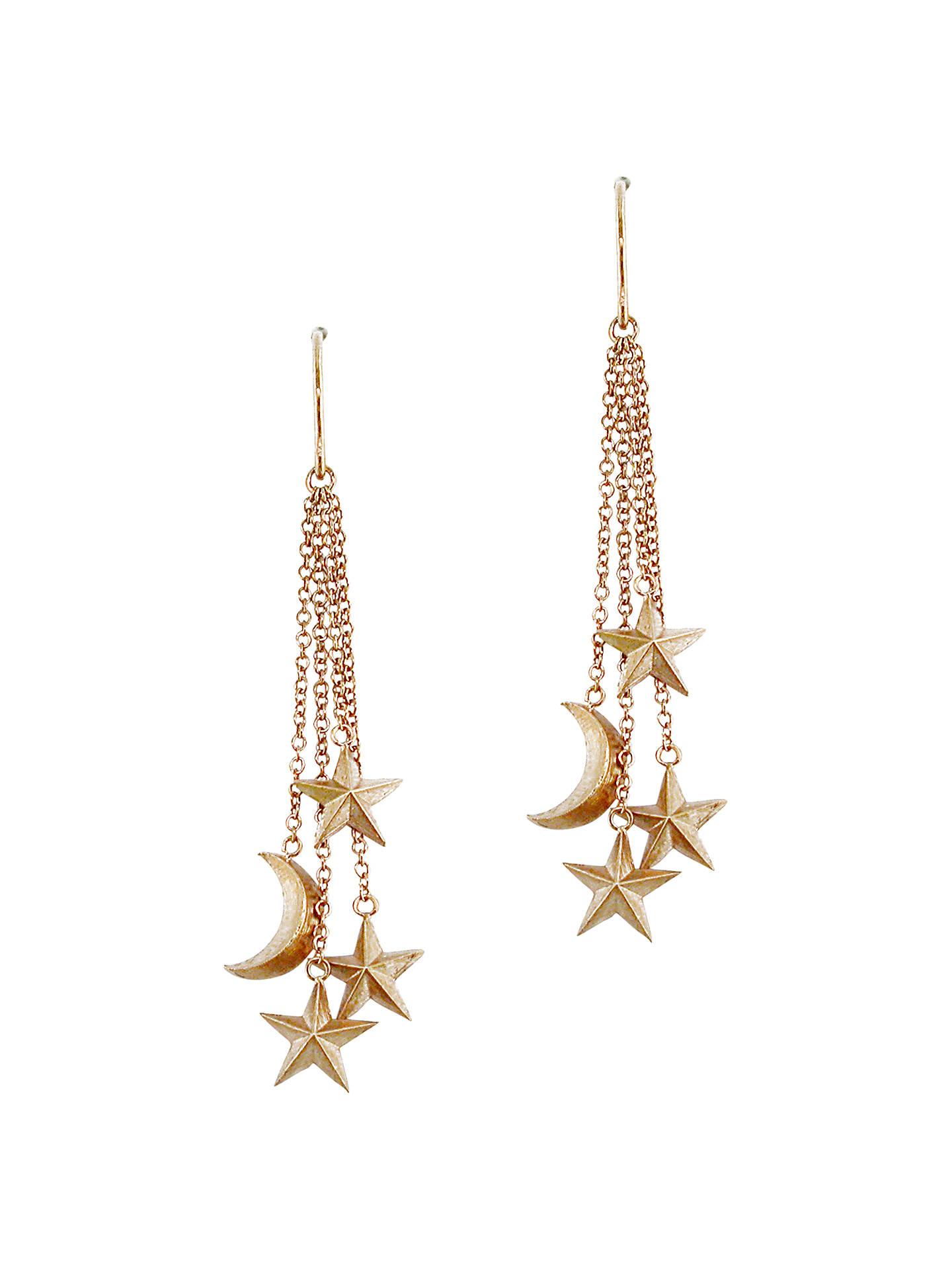BuyLondon Road 9ct Rose Gold Moon and Stars Drop Earrings 5d1d4477d