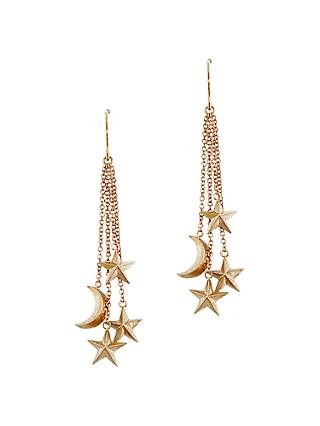 London Road 9ct Rose Gold Moon and Stars Drop Earrings, Rose Gold