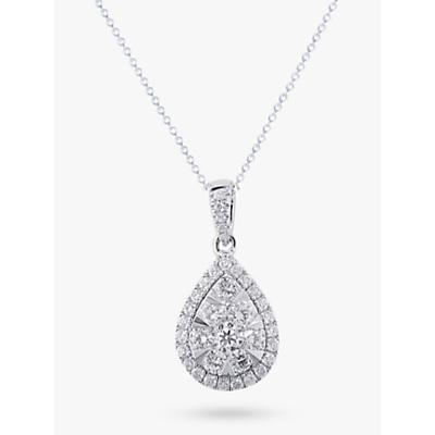E.W Adams 18ct White Gold Diamond Cluster Pear Shaped Pendant, 0.66ct