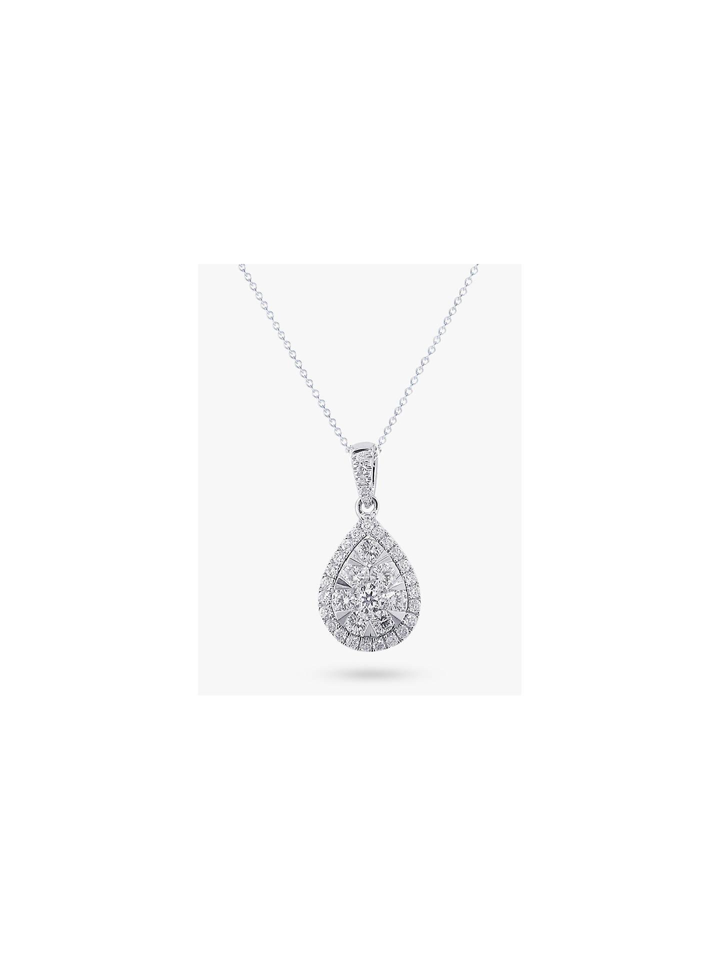 ac04535e43446b Buy E.W Adams 18ct White Gold Diamond Cluster Pear Shaped Pendant, 0.66ct Online  at