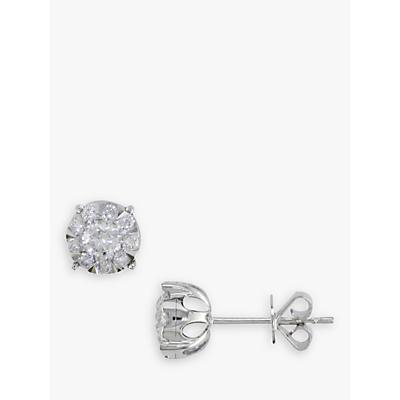 E.W Adams 18ct White Gold Solitaire Diamond Stud Earrings, 0.50ct
