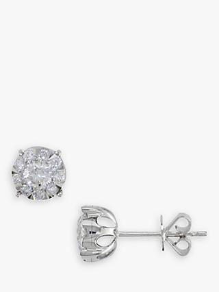 E.W Adams 18ct White Gold Solitaire Diamond Stud Earrings, 0.50ct