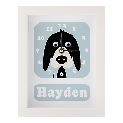 Stripey Cats Personalised Donnie Dog Framed Clock, 23 x 18cm
