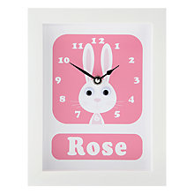 Buy Stripey Cats Personalised Rhonda Rabbit Framed Clock, 23 x 18cm Online at johnlewis.com