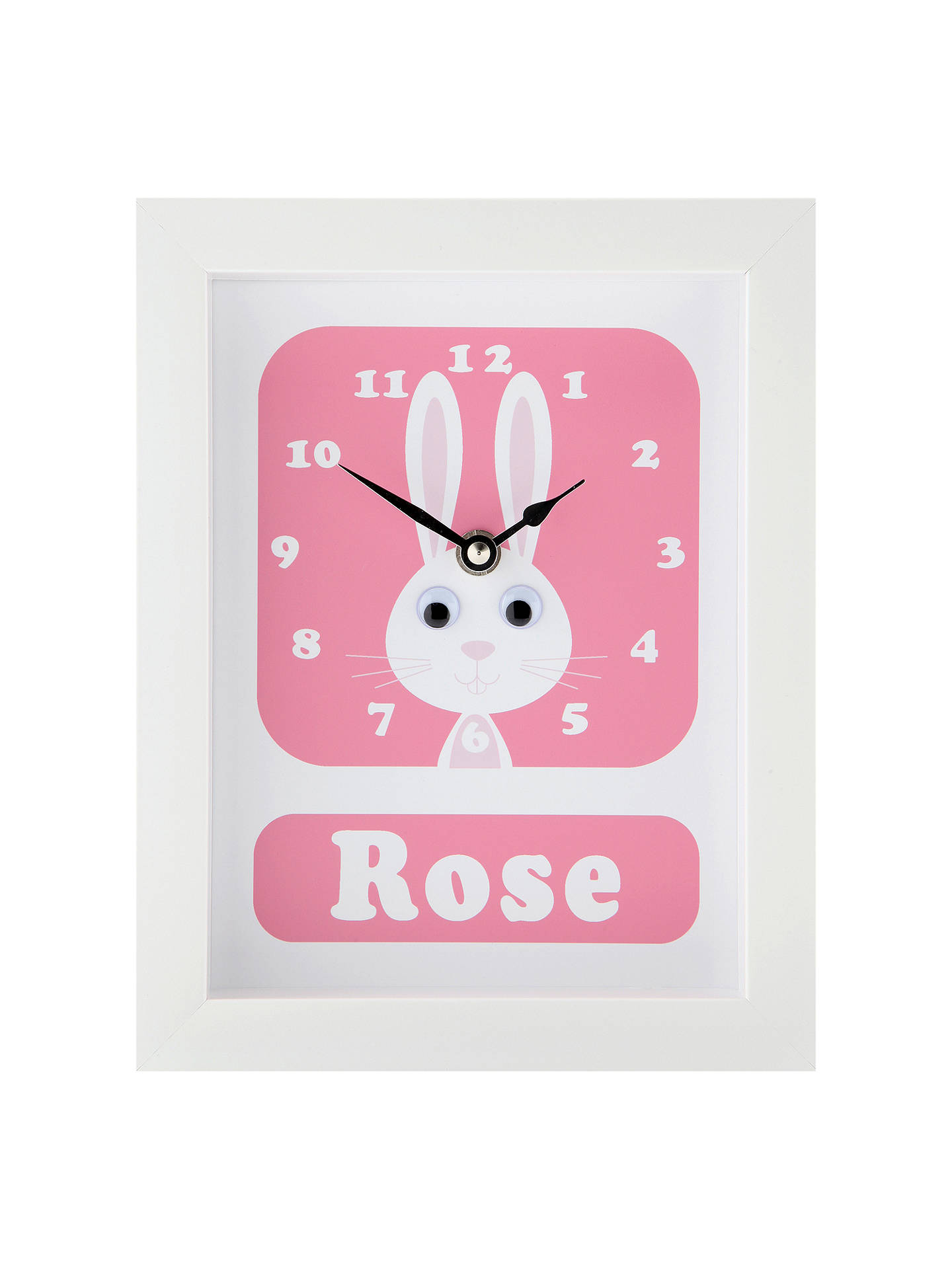 BuyStripey Cats Personalised Rhonda Rabbit Framed Clock, 23 x 18cm, Pink Online at johnlewis.com