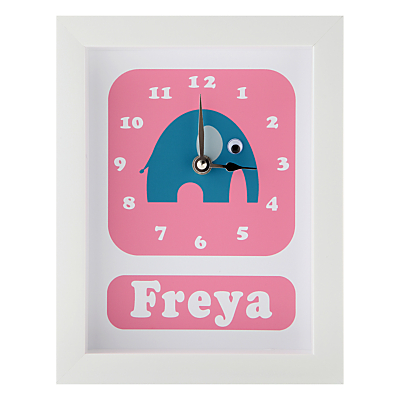 Stripey Cats Personalised Elwyn Elephant Framed Clock, 23 x 18cm
