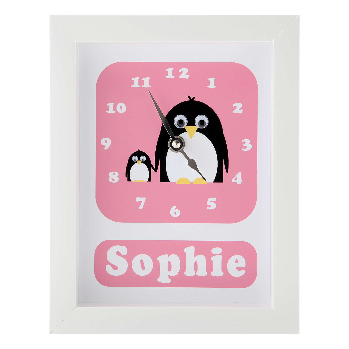 BuyStripey Cats Personalised Poppy & Petula Penguin Framed Clock, 23 x 18cm, Pink Online at johnlewis.com