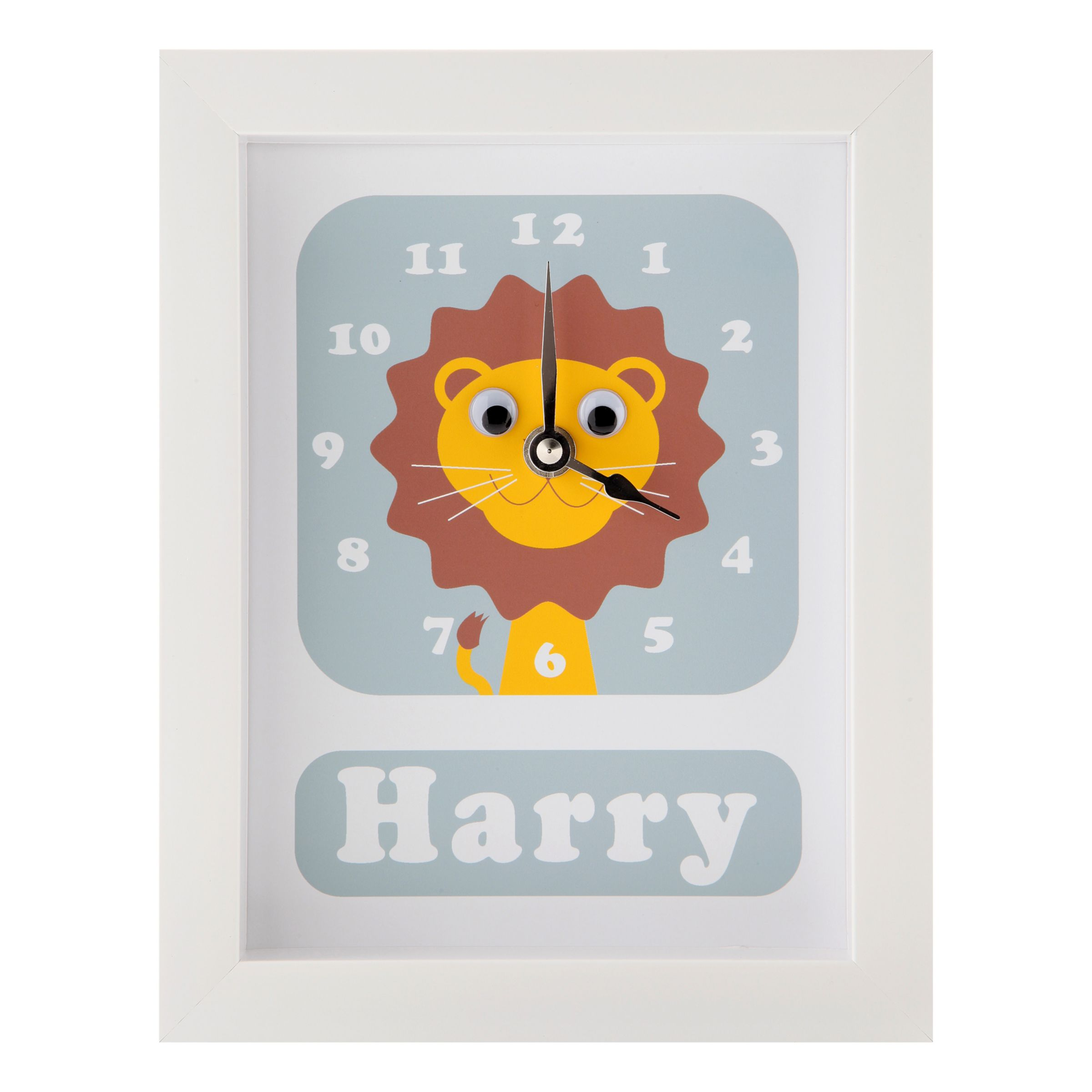 Stripey Cats Stripey Cats Personalised Livingston Lion Framed Clock, 23 x 18cm, Blue