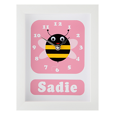 Stripey Cats Personalised Bert Bee Framed Clock, 23 x 18cm