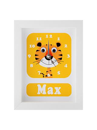 Stripey Cats Personalised Terrance Tiger Framed Clock, 23 x 18cm