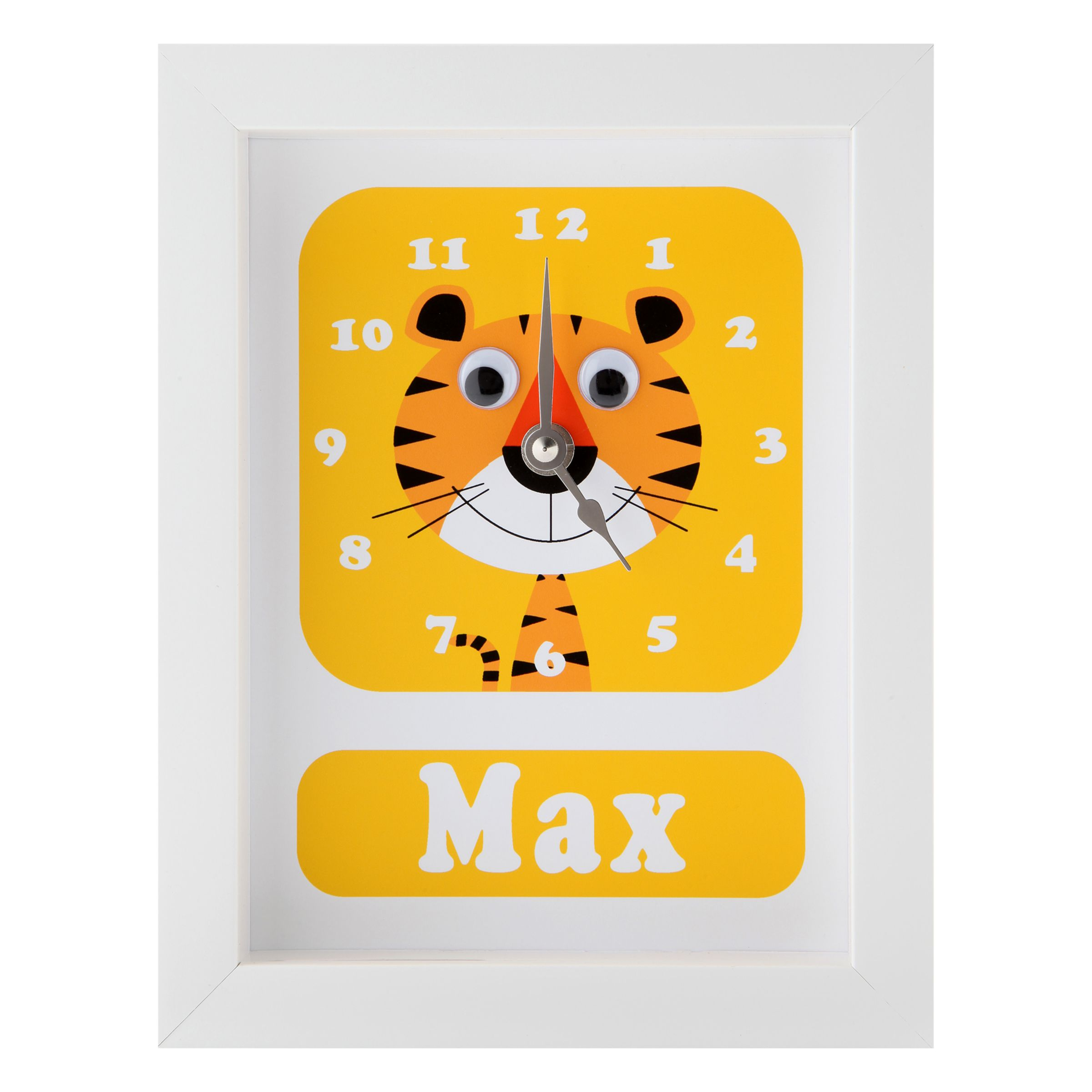 Stripey Cats Stripey Cats Personalised Terrance Tiger Framed Clock, 23 x 18cm