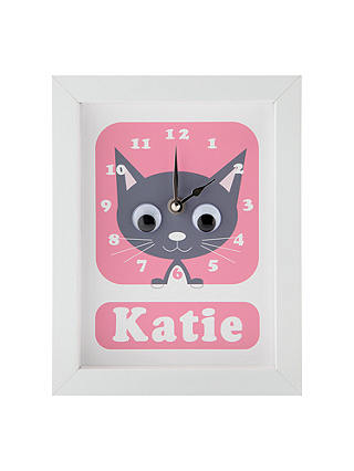 Buy Stripey Cats Personalised Kirsty Kitten Framed Clock, 23 x 18cm, Pink Online at johnlewis.com