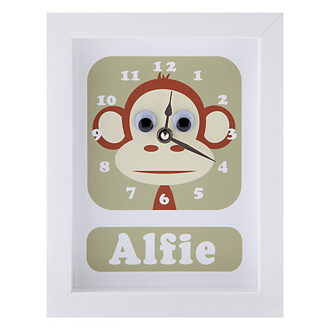 Buy Stripey Cats Personalised Marley Monkey Framed Clock, 23 x 18cm Online at johnlewis.com