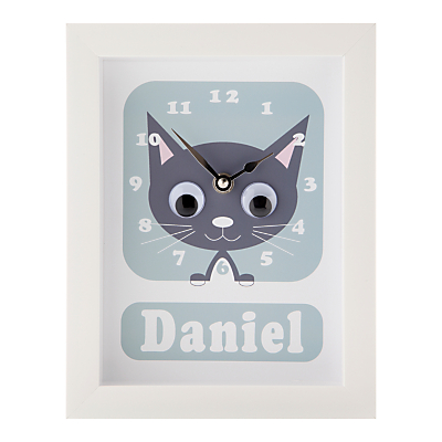 Stripey Cats Personalised Kirsty Kitten Framed Clock, 23 x 18cm