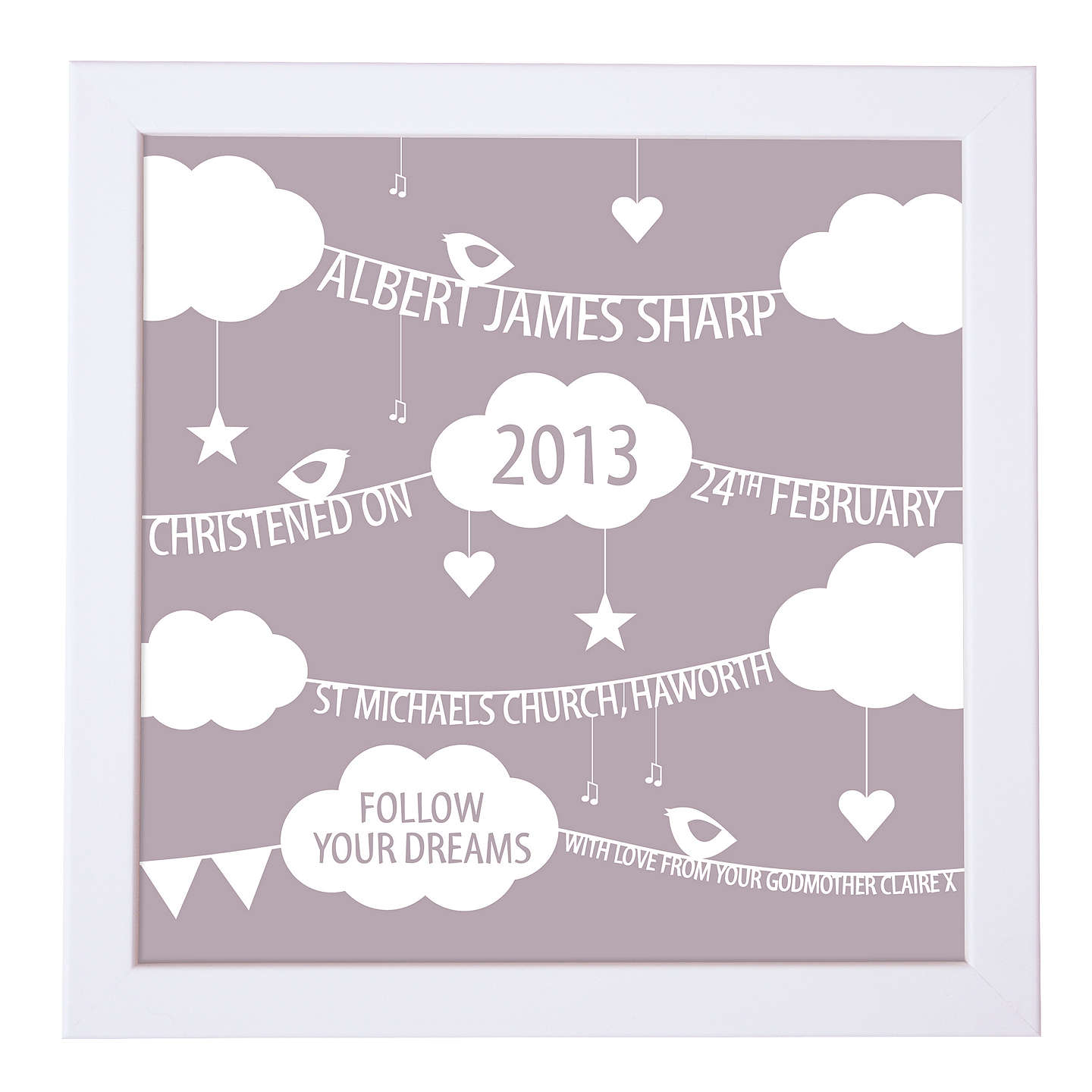 BuyModo Creative Personalised Clouds & Bunting Framed Print, 18 x 18cm, Mauve Online at johnlewis.com