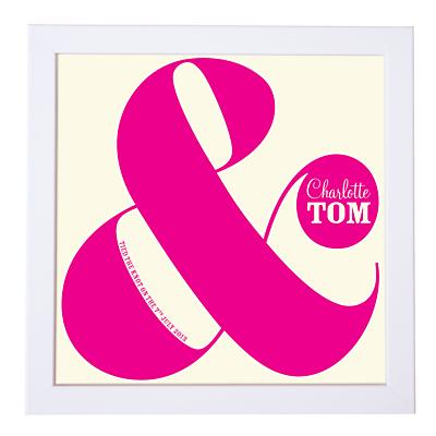 Modo Creative Personalised Ampersand Wedding Framed Print, 18 x 18cm