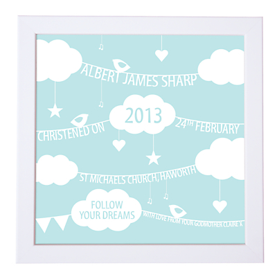 Modo Creative Personalised Clouds & Bunting Framed Print, 18 x 18cm