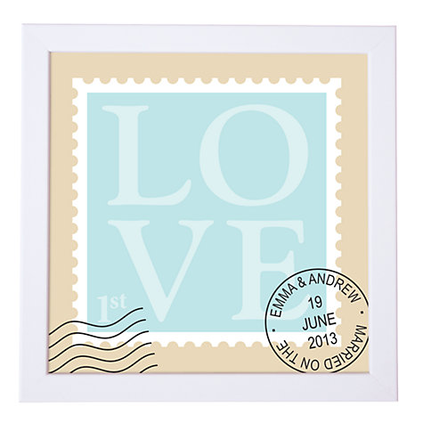 Buy Modo Creative Personalised Love Stamp Framed Print, 18 x 18cm Online at johnlewis.com