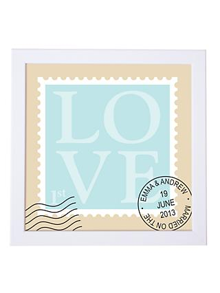 Modo Creative Personalised Love Stamp Framed Print, 18 x 18cm