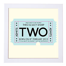 Buy Modo Creative Personalised Admission Ticket Framed Print, 18 x 18cm Online at johnlewis.com