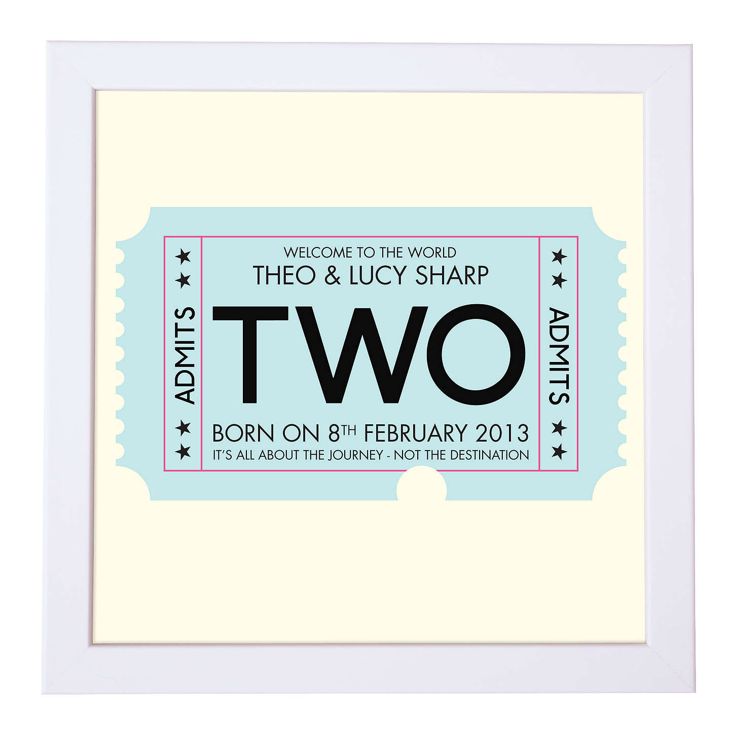 BuyModo Creative Personalised Admission Ticket Framed Print, 18 x 18cm, Blue Online at johnlewis.com