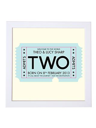 Modo Creative Personalised Admission Ticket Framed Print 60512a97f3a88
