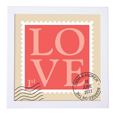 Modo Creative Personalised Love Stamp Framed Print, 18 x 18cm