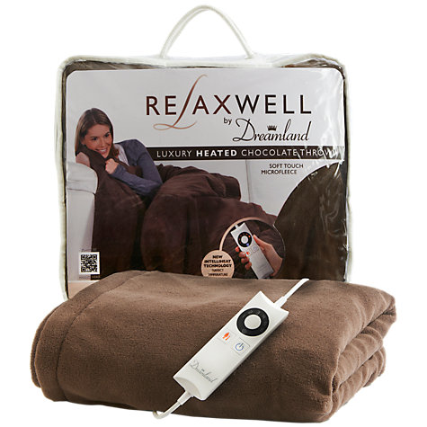 Buy Dreamland 16082 Relaxwell Luxury Heated Throw Electric Blanket, Chocolate Online at johnlewis.com