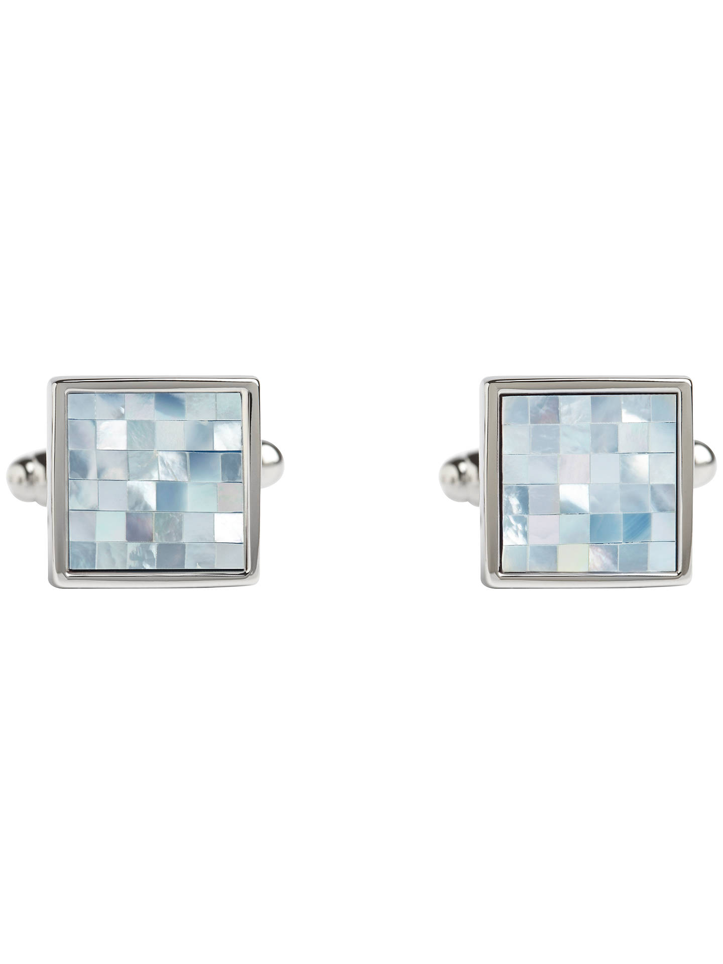 BuySimon Carter Check Square Mother of Pearl Cufflinks, Blue/Metallic Online at johnlewis.com