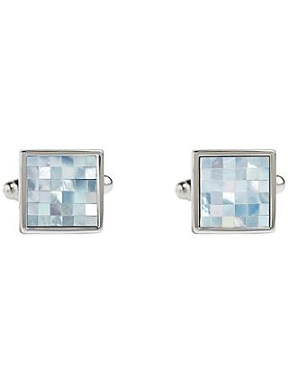 Simon Carter Check Square Mother of Pearl Cufflinks, Blue/Metallic