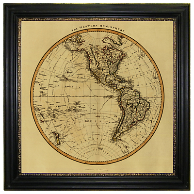 Brookpace, Vintage Maps Collection – Western Hemisphere Framed Print, 91 x 91cm