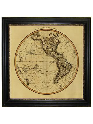 Vintage Maps Collection - Western Hemisphere Framed Print, 91 x 91cm