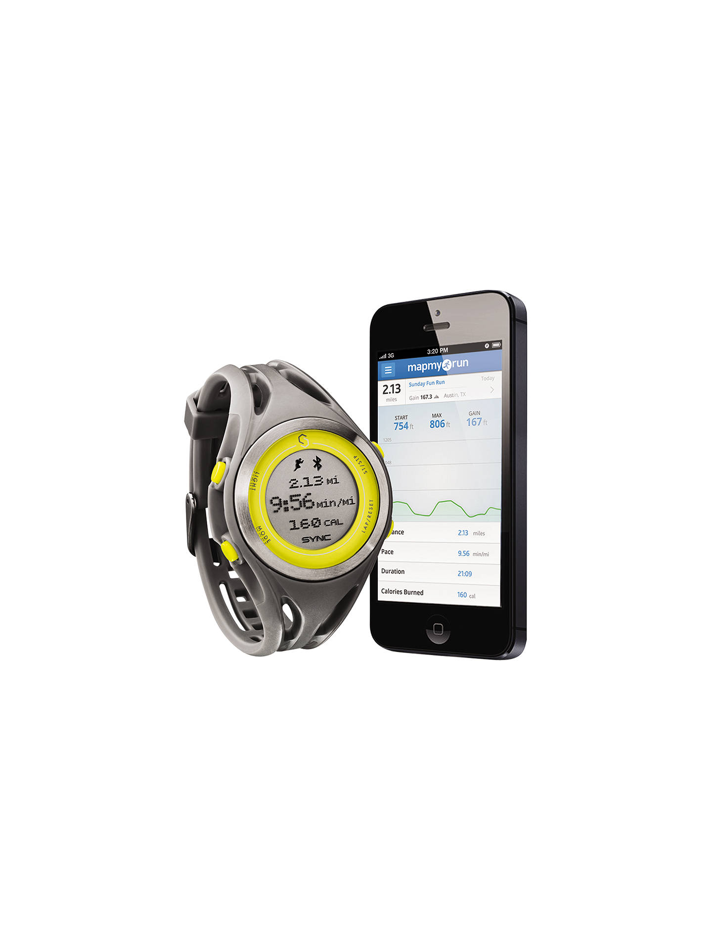 Sync Women's GPS Heart Rate Monitor Watch, Grey/Yellow at John Lewis