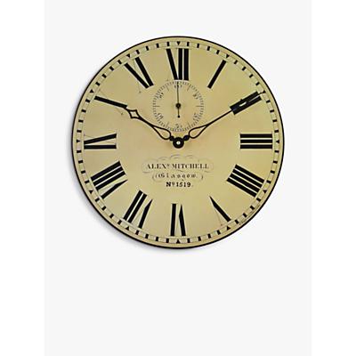Image of Lascelles Glasgow Station Wall Clock, Dia.36cm, Cream