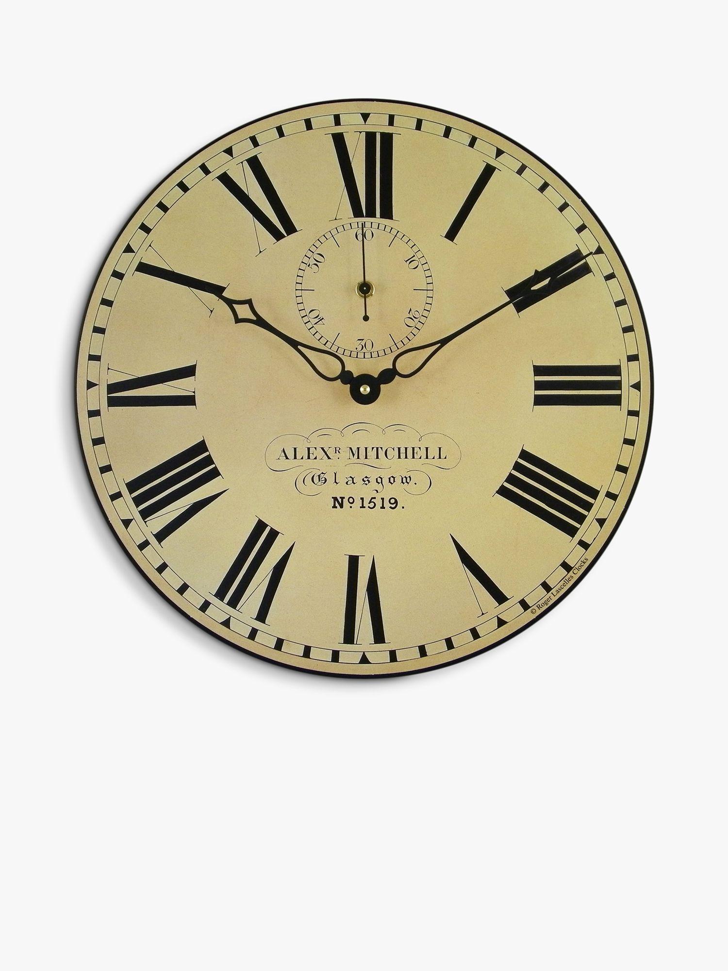 Lascelles Lascelles Glasgow Station Wall Clock, Dia.36cm, Cream