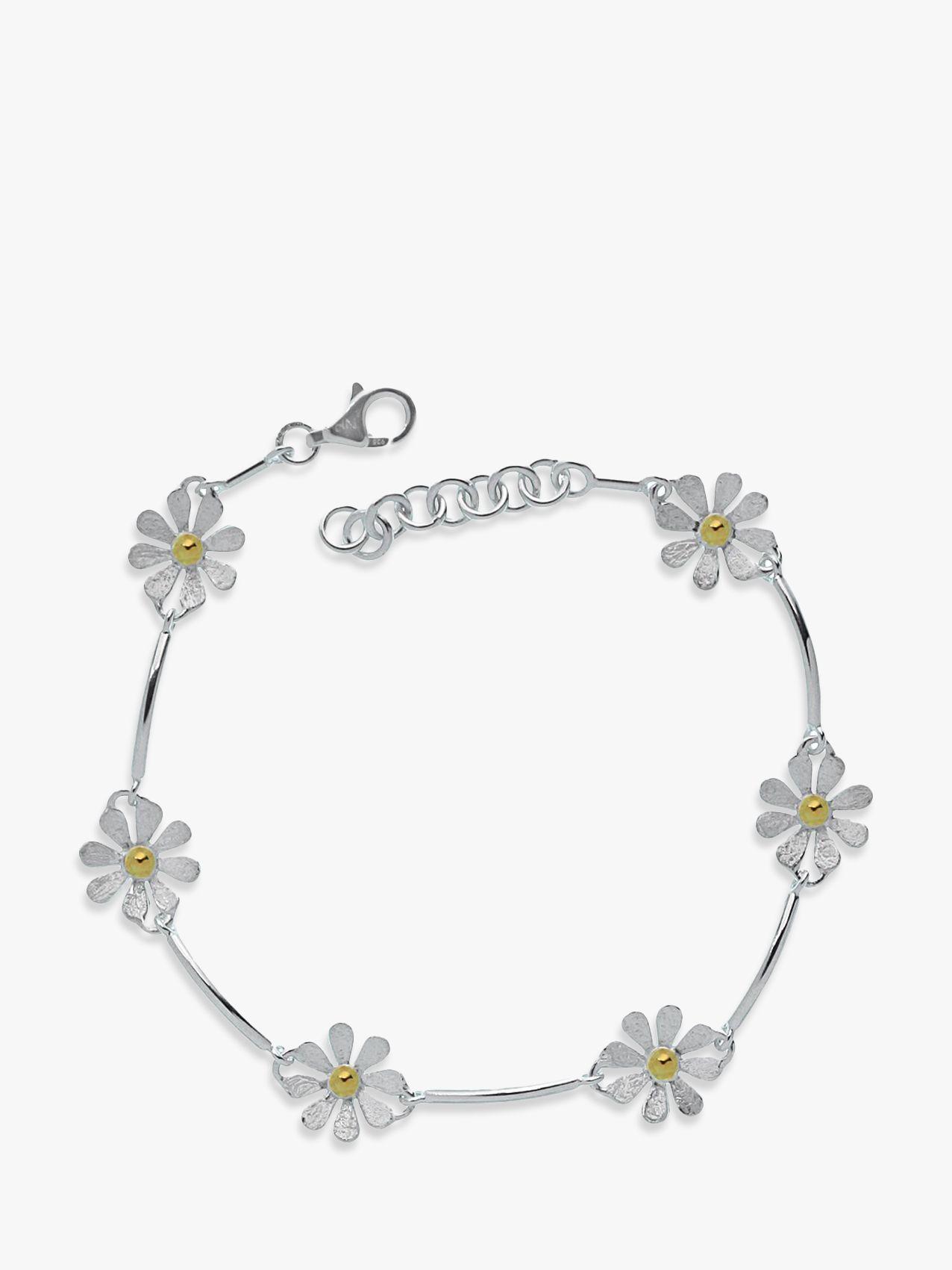 Nina B Nina B Flower Sterling Silver And Gold Plated Bracelet