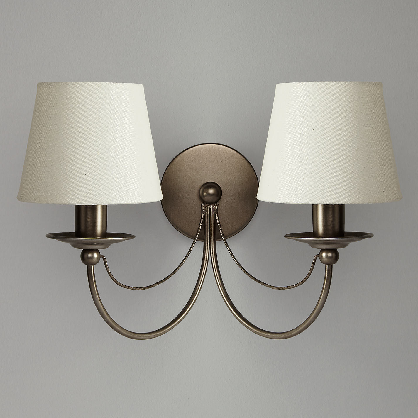 ... Buy John Lewis Mariana Fabric Shade Wall Light, 2 Arm Online at  johnlewis.com ...