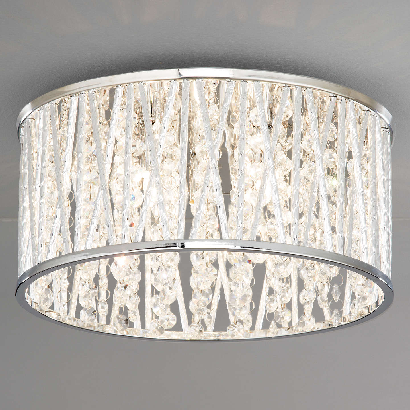Flush Ceiling Chandeliers: John Lewis Emilia Crystal Drum Flush Ceiling Light At John