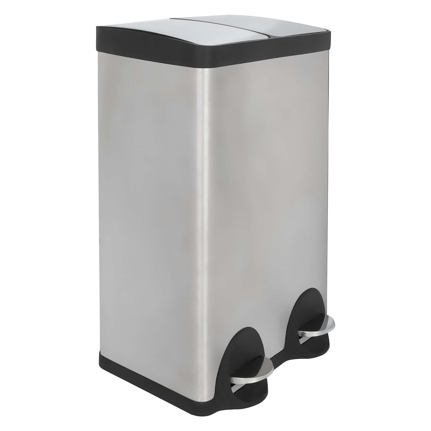 John Lewis 2 Section Recycling Bin, Stainless Steel, 2x 30L at John ...