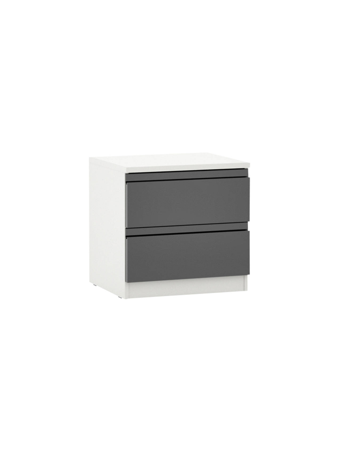 House by John Lewis Mix it 2 Drawer Bedside Chest, Gloss House Steel ...