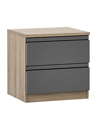 House by John Lewis Mix it 2 Drawer Bedside Chest, Gloss House Steel/Grey Ash