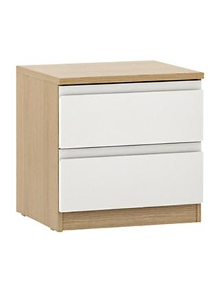 House by John Lewis Mix it 2 Drawer Bedside Chest, Gloss White/Natural Oak