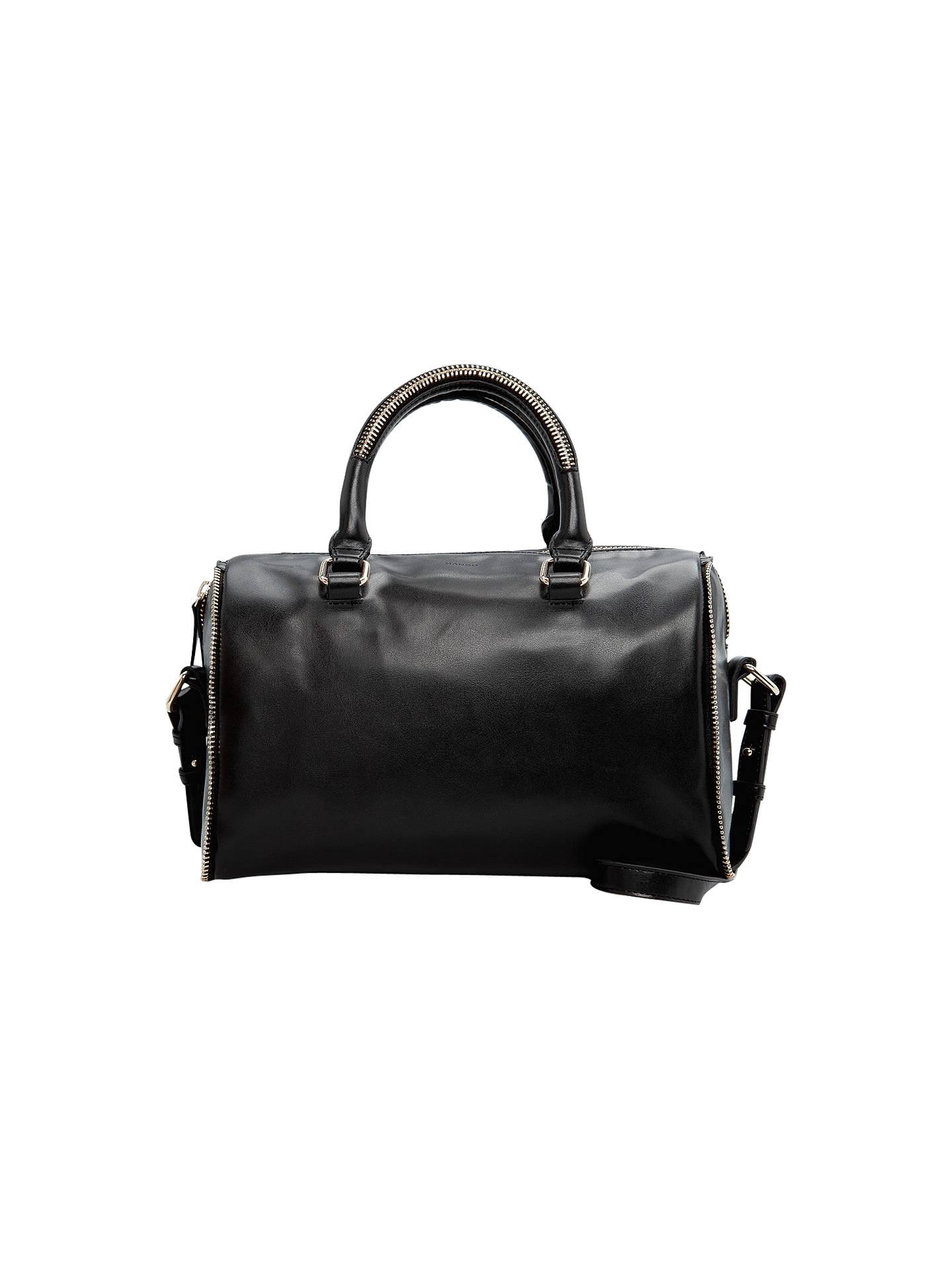 BuyMango Zip Glossy Bowling Handbag, Black Online at johnlewis.com ...